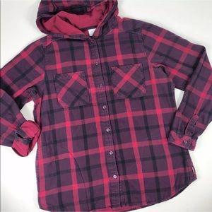 Columbia Sportswear Plaid Shirt Sweatshirt Magenta